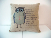 Cotton Linen Square Throw Pillow Case Decorative Cushion Cover Pillowcase Owl Sayings 46cm X18 ""