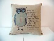 "Cotton Linen Square Throw Pillow Case Decorative Cushion Cover Pillowcase Owl Sayings 46cm X18 """