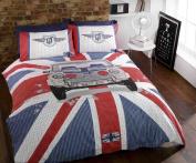 Mini GT Car Union Jack Stripe Blue Red White Grey Duvet Cover Quilt Bedding Set Single Bed Size Hallways ®
