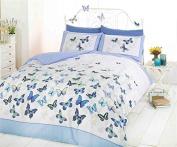 Butterflies Floral Flowers Blue Yellow White Duvet Cover Quilt Bedding Set Double Bed Size Hallways ®