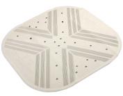 H & S Thick Square 53 x 53cm Cream Rubber Extra Grip Suction Non Slip Bath Shower Mat Disability