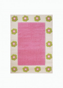 """Little Helper IVI Exclusive Hypo-Allergenic Extra Large, Thick Pile & High Quality 3D Embossed Rug """"Flowerpatch"""" design, Pink"""