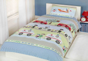 Kids Childrens Single Bed Size Duvet Cover Police Cars & Fire Engines Blue Green