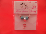 Personalised Silver Plated Letter 'P' Wine Glass Charm by Libby's Market Place