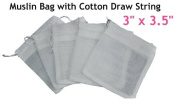 White Reusable Muslin Bags with Draw String for Spice, Herbs, Tea, Mulled Wine, Bouquet Garni Infuser Sieve - 7.6cm x 8.9cm