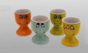 Novelty Face Design Set of 4 Ceramic Egg Cups Cup Porcelain Assorted Colours