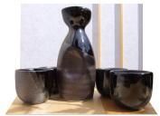 Japanese black fleck & metallic grey striped sake set with four cups