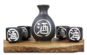 Japanese black traditional Sake set with white calligraphy