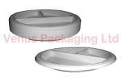 100 pcs 25cm Deep 3-Compartment Plastic Disposable Plates