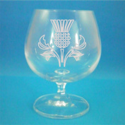 Bohemia Crystal Brandy Glass With Scottish Thistle Design
