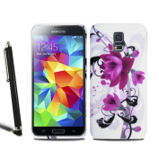 Samsung Galaxy S5 Mini Flower Floral Silicone Case Gel Skin Cover + Screen Protector + Stylus