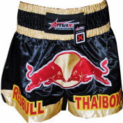 Maxx Blk/Gold Muay Thai Boxing, Kick Boxing Shorts, MMA Shorts, small- xlarge