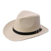 EOZY Unisex Men Women Beige Straw Panama Fedora Hat Black Belted Beach Sun Jazz Cap Head Circumference 57cm