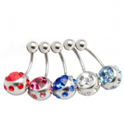 Thenice 5 Pcs 16g Big Crystal Ball Needle Navel Rings Stud Body Piercing