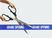 60cm Black/Silver Ceremonial Ribbon Cutting Scissors with 5 Yards of 10cm Blue Grand Opening Ribbon