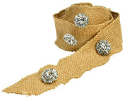 Caffco International Wired Edge Jewelled Burlap Ribbon