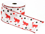 Caffco International Wired Edge Satin Ribbon, Elephant Dot Design