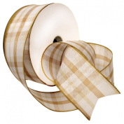 Morex Ribbon 7380.60/50-104 Colour Chic Plaid French Wired Ribbon, 6.4cm by 50-Yard Spool, Champagne