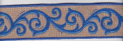 Blue Scroll Printed Burlap Ribbon - 2yards