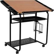 Adjustable Drawing & Drafting Table Black Frame & Dual Wheel Casters