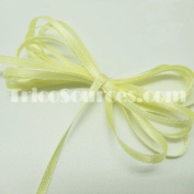 """Craft Ribbon Solid Satin Ribbon Double Faced 1/8""""(3mm) x 100YDS light Yellow - B4001YL"""
