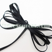 """Craft Decoration Solid Satin Ribbon Double Faced 1/8""""(3mm) x 100YDS Black - B4001BK"""