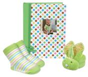 Stephan Baby Mini-Dot Photo Brag Book, Boo Bunnie and Bootie Socks Gift Set, Green