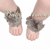 27# Hot Baby Girls Shabby Chiffon Barefoot Rose Flower Sandals Shoes Toe Blooms