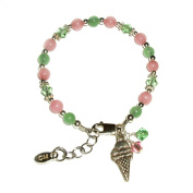 Sterling Silver Pink and Lime Baby Bracelet for Infant with Ice Cream Cone Charm for New Baby Shower Gift