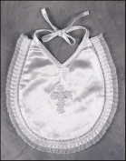 Embroidered Floral Latin Cross on White Satin Organza Lace Trim Baby Baptism Bib