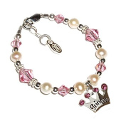Sterling Silver Baby Princess Bracelet for Infant with Pink Crystals and Tiara for New Baby Shower Gift