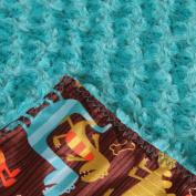 Allyzabba Dino Aqua Large Baby Blanket 34″ X 28″