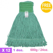 1doz. 680g710ml SunnyCare #22684 Green Synthetic Cotton Loop-End Wet Mops 12/CS