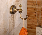 Rozin Antique Brass Bath Towel Hook Wall Mounted Robe Clothes Hanger
