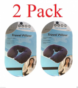 wennow 2 Pack Blue Inflatable Travel Pillow Neck U Rest Air Cushion