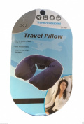 wennow Cute Inflatable Travel Pillow Neck U Rest Compact Plane Blue