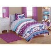7pc Girl Purple Blue Butterfly Polka Dot Full Comforter Set