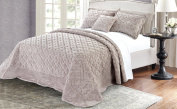 Serenta Faux Fur Quilted Tatami 4 Piece Bedspread Set. Queen, Taupe
