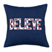 "Chooty & Company KE Fibre Pillow with 10cm Zig Zag Lipstick ""Believe"" Applique, 43cm by 43cm , Denim Blue"