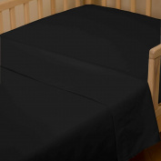 Solid Black Toddler Sheet Top Flat