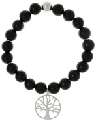 CGC Sterling Silver Tree Of Life Charm and Created Black Agate Beads Slip On Bracelet