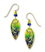 Adajio by Sienna Sky Chartreuse Deep Blue Ombré Leaf Shape Earrings 7633
