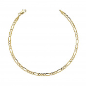 10k Yellow Gold Solid Italian Figaro Chain Wrist and Ankle Bracelet, 0.16 Inch