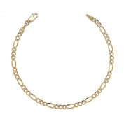 Figaro Chian Bracelet and Anklet w/ White Pave - 10k Two-tone Gold - 0.1 Inch (2.5mm)