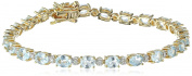 18k Yellow Gold-Plated Sterling Silver Diamond Accent Two-Tone Gemstone and Tennis Bracelet, 18cm