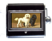 Poodle Dogs White & Black Victorian Colour Art 150ml Stainless Steel & Leather Hip Flask with Built-In Cigarette Case