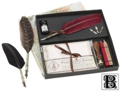 Parchment & Feather Quill & Ink Set with Initial Wax Seal Stamp
