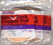 3 Rolls - value pack 0.6cm Venture Black Backed Copper Foil