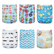 Alva Baby 6pcs Pack Pocket Adjustable Reusable Cloth Nappy with 2 Inserts Each (Neutral) 6DM10