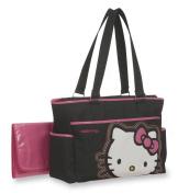 Hello Kitty Embroidery Applique Tote Nappy Bag, Black/White /Pink
